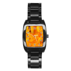 Bright Yellow Autumn Leaves Stainless Steel Barrel Watch