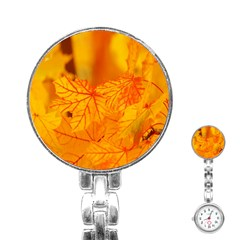 Bright Yellow Autumn Leaves Stainless Steel Nurses Watch