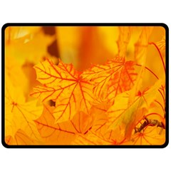 Bright Yellow Autumn Leaves Double Sided Fleece Blanket (large)