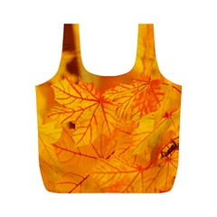 Bright Yellow Autumn Leaves Full Print Recycle Bags (m)