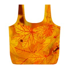Bright Yellow Autumn Leaves Full Print Recycle Bags (l)