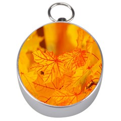 Bright Yellow Autumn Leaves Silver Compasses