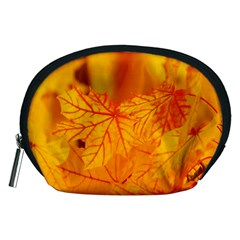 Bright Yellow Autumn Leaves Accessory Pouches (medium)