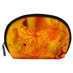 Bright Yellow Autumn Leaves Accessory Pouches (large)