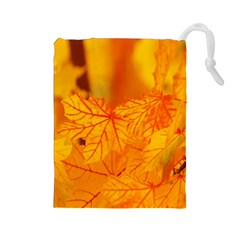 Bright Yellow Autumn Leaves Drawstring Pouches (Large)