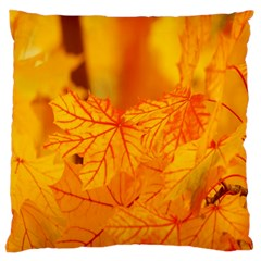 Bright Yellow Autumn Leaves Large Flano Cushion Case (two Sides)