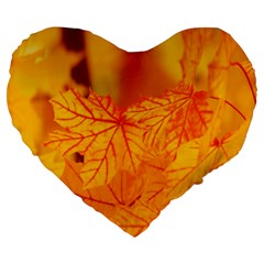Bright Yellow Autumn Leaves Large 19  Premium Flano Heart Shape Cushions