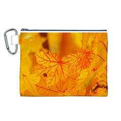 Bright Yellow Autumn Leaves Canvas Cosmetic Bag (l)