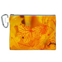 Bright Yellow Autumn Leaves Canvas Cosmetic Bag (xl)