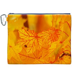 Bright Yellow Autumn Leaves Canvas Cosmetic Bag (xxxl)