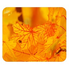 Bright Yellow Autumn Leaves Double Sided Flano Blanket (small)