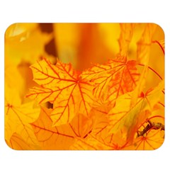 Bright Yellow Autumn Leaves Double Sided Flano Blanket (Medium)