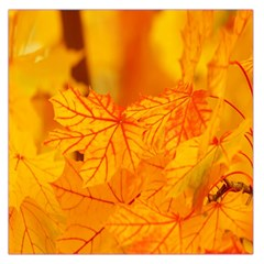 Bright Yellow Autumn Leaves Large Satin Scarf (square)