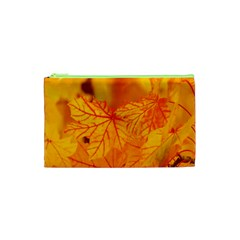 Bright Yellow Autumn Leaves Cosmetic Bag (xs)