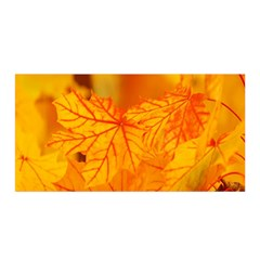 Bright Yellow Autumn Leaves Satin Wrap