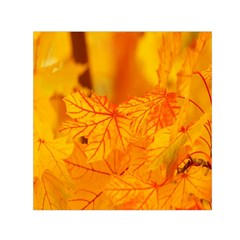 Bright Yellow Autumn Leaves Small Satin Scarf (square)