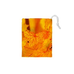 Bright Yellow Autumn Leaves Drawstring Pouches (xs)