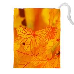 Bright Yellow Autumn Leaves Drawstring Pouches (xxl)