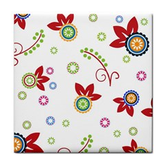Colorful Floral Wallpaper Background Pattern Tile Coasters