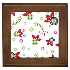 Colorful Floral Wallpaper Background Pattern Framed Tiles