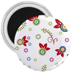 Colorful Floral Wallpaper Background Pattern 3  Magnets