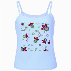 Colorful Floral Wallpaper Background Pattern Baby Blue Spaghetti Tank