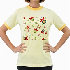 Colorful Floral Wallpaper Background Pattern Women s Fitted Ringer T Shirts