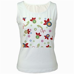Colorful Floral Wallpaper Background Pattern Women s White Tank Top