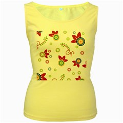 Colorful Floral Wallpaper Background Pattern Women s Yellow Tank Top
