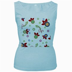 Colorful Floral Wallpaper Background Pattern Women s Baby Blue Tank Top
