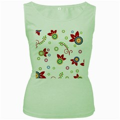 Colorful Floral Wallpaper Background Pattern Women s Green Tank Top