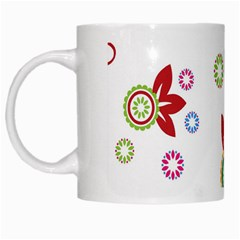 Colorful Floral Wallpaper Background Pattern White Mugs