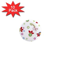 Colorful Floral Wallpaper Background Pattern 1  Mini Magnet (10 Pack)