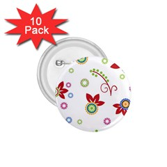 Colorful Floral Wallpaper Background Pattern 1 75  Buttons (10 Pack)