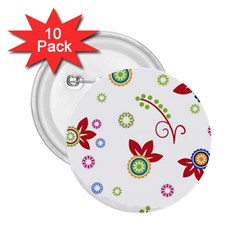 Colorful Floral Wallpaper Background Pattern 2 25  Buttons (10 Pack)