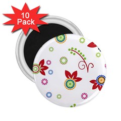 Colorful Floral Wallpaper Background Pattern 2 25  Magnets (10 Pack)
