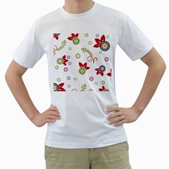 Colorful Floral Wallpaper Background Pattern Men s T Shirt (white) (two Sided)