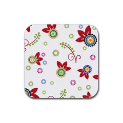 Colorful Floral Wallpaper Background Pattern Rubber Square Coaster (4 pack)