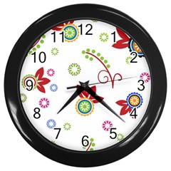 Colorful Floral Wallpaper Background Pattern Wall Clocks (black)