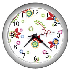 Colorful Floral Wallpaper Background Pattern Wall Clocks (Silver)