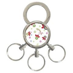 Colorful Floral Wallpaper Background Pattern 3 Ring Key Chains