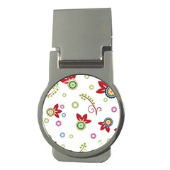 Colorful Floral Wallpaper Background Pattern Money Clips (round)