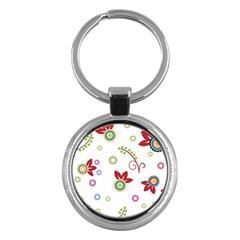 Colorful Floral Wallpaper Background Pattern Key Chains (round)