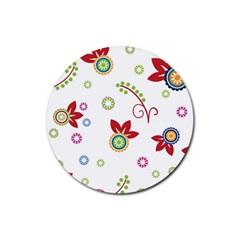 Colorful Floral Wallpaper Background Pattern Rubber Round Coaster (4 Pack)