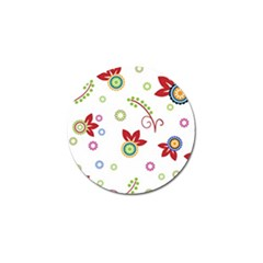 Colorful Floral Wallpaper Background Pattern Golf Ball Marker (4 Pack)
