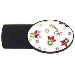 Colorful Floral Wallpaper Background Pattern USB Flash Drive Oval (1 GB)