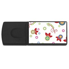 Colorful Floral Wallpaper Background Pattern USB Flash Drive Rectangular (2 GB)