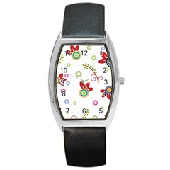 Colorful Floral Wallpaper Background Pattern Barrel Style Metal Watch