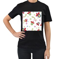 Colorful Floral Wallpaper Background Pattern Women s T-Shirt (Black) (Two Sided)