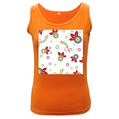 Colorful Floral Wallpaper Background Pattern Women s Dark Tank Top